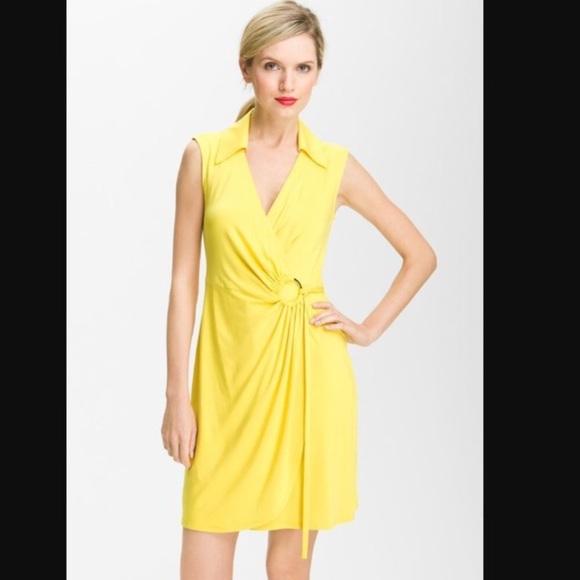 bfc575be705ed Trina Turk Yellow Mahalo Jersey Wrap Dress Size 8.  M 5a8f274f46aa7c9cb311f84a